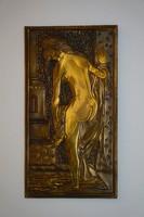 Női akt, művészi kivitelezésű réz, bronz kép, falidísz