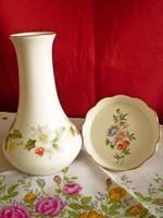 Aquincumi ritka virágos porcelán váza 13 cm és tálka