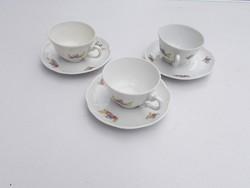 3 db régi Zsolnay porcelán kávés csésze pohár és alátét