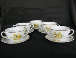 Zsolnay porcelán sárga rózsás csésze készlet