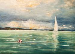 Vitorla a Balatonon Festmény