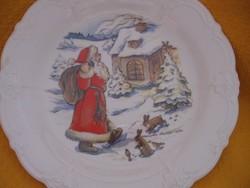 Művészi,szignált Mikulásos , Karácsonyi dísztányér