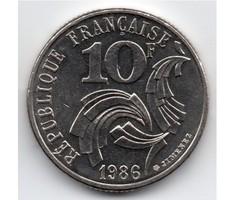 Franciaország kisméretű nikkel 10 francia Frank, 1986, ritka