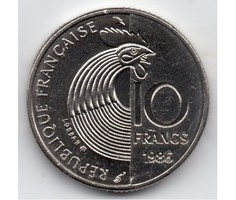 Franciaország kisméretű nikkel 10 Frank emlékveret, 1986
