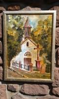 Benke Gábor: Balaton, tájkép, kápolna, olaj festmény