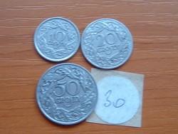 LENGYEL 10+20+50 GROSZY 1923 3 DB  30.