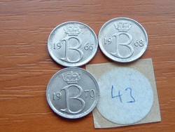 BELGIUM BELGIE 25 CENTIMES 1966,1968,1970 3 DB 43.