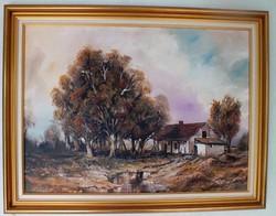 Őszi tanya (Eső után)Keretezett olajkép Jámbor L