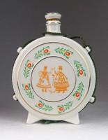 0M714 Régi hollóházi porcelán kulacs 16.5 cm