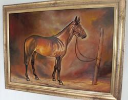 Lóportré -Jámbor L olajfestmény falemez 50*70 cm