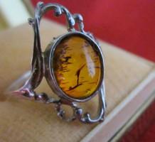 Ezüst Borostyán virág alakú gyűrű 54-es