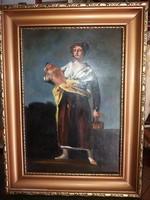 Olajfestmény reprodukció: A korsós lány Francisco Goya-tól