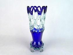 0M753 Régi művészi fújt üveg áttört váza 26.5 cm