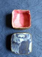 Antik, ezüstözött réz ékszeres szelence porcelán berakással