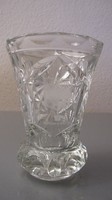 Álomszép régi nehéz kicsi ólomüveg váza címeres gravírral
