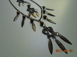 Nyaklánc-fülbevaló szett-bronzírozot fém