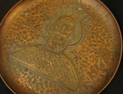 Cizellált Szent László vörösréz tál- hermával