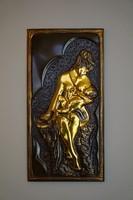 Anya gyermekével, művészi kivitelű réz, bronz kép, falidísz