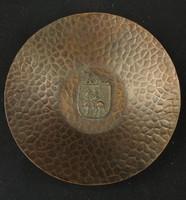 Cizellált réz hamutál Buda feliratú érmével