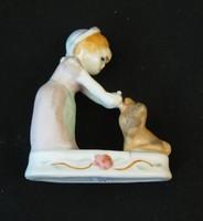 Kislány kutyával jelzetlen porcelán