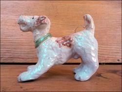 Régi mázas kerámia terrier kutya figura