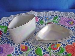 Hollóházi porcelán hamutál és cigi tartó irizáló színben