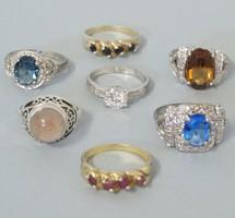 Köves ezüst gyűrű csomag 7db