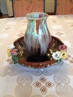 Rózsás tál és váza hozzá