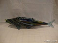 Óriás üveg hal szobor dísztárgy