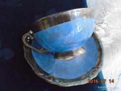 Ezüstvirágos királykék-teás csésze+alja-Waldershof-2