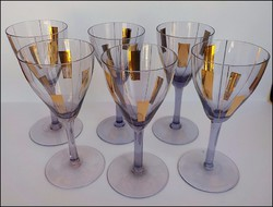 Art deco lila aranyozott talpas pohár készlet