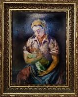 Anya csecsemőjével szignós keretezett olajfestmény