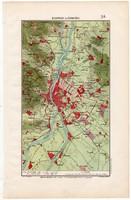 Budapest és környéke térkép 1906, magyar atlasz, eredeti