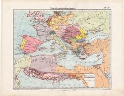 Fiuméból kiinduló gőzhajó járatok térkép 1906, Európa