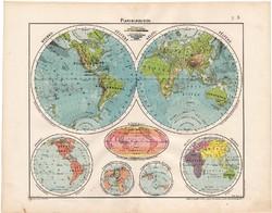 Planiglobusok térkép 1906, Világtérkép, magyar atlasz
