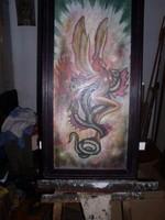 Akt sárkánnyal, Olajfestmény, 80 x 42 cm. farostlemezen,
