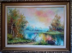 Czinege Zsolt : Csónak a parton festménye negyed áron