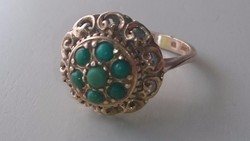 Arany, régi Magyar 14 karátos gyűrű zöld türkiz kövekkel