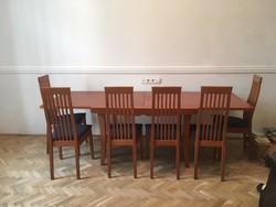 Calligaris olasz étkező garnitúra, étkezőasztal + 6 szék