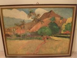 Tahiti Paul Gauguin stilusú karton akvarell 55x42 cm