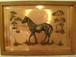 Feng Shui tükör plasztikus lóval galériás ritkaság