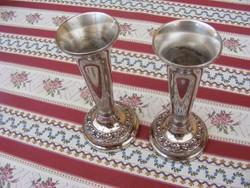 Igazán pazar ezüstözött antik dombormintás gyertyatartó pár