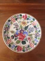 Antik népi festett tányér . 26 cm . Apátfalva ? Bélapátfalva
