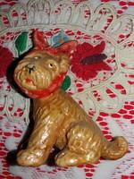 Rendkívül ritka antik Illés László formatervű fogfájós Artdeco kerámia kutya figura 9 X 8 cm