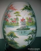 Keleti kerámia éjjeli lámpa, gyönyörű pagodás képpel - Ceramic bedside lamp with a beautiful pagoda