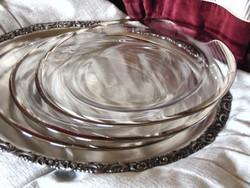 3 db ezüstözött szélű üveg kínáló