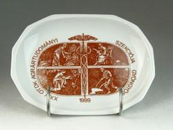 0N429 Feliratos Hollóházi porcelán tálka