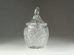 0N453 Régi csiszolt üveg asztali cukortartó