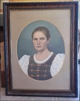 Díszmagyar, hölgy festett fotó keretezve , nagy méret !