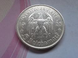 """1935 """"A""""III.birodalom ezüst 5 márka 13,88 gramm 0,900 templom,horogkereszt"""